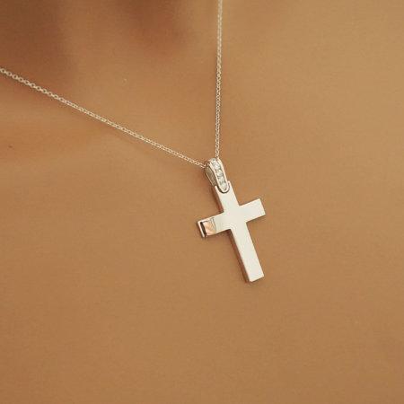 Λευκόχρυσος Σταυρός Με Μπριγιάν Γυναικείος 18Κ
