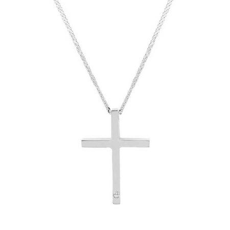 Λευκόχρυσος Σταυρός 18 Καράτια Με Μπριγιάν & Αλυσίδα
