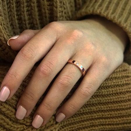 Μονόπετρο Δαχτυλίδι Βέρα Με Ζιργκόν Πέτρα Ροζ Χρυσό 14 Καρατίων