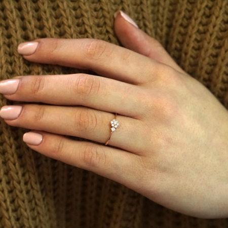 Ροζ Χρυσό Δαχτυλίδι Ροζέτα 14Κ Με Ζιργκόν Πέτρες
