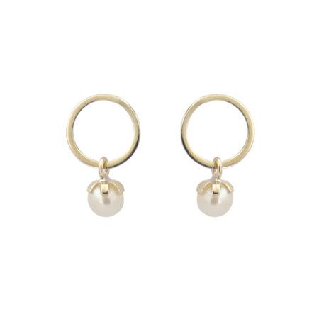 Σκουλαρίκια Κύκλος Με Μαργαριτάρι Σε Χρυσό 9Κ