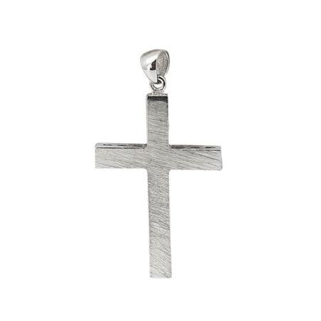Βαπτιστικός Λευκόχρυσος Σταυρός Δύο Όψεων 18Κ