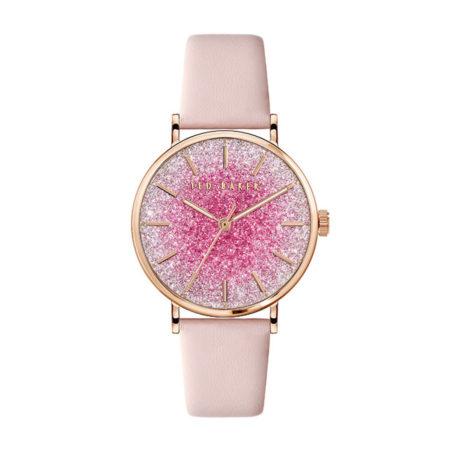 Γυναικείο Ρολόι Ted Baker Με Ροζ Δερμάτινο Λουράκι BKPPHS136