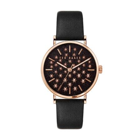 Μαύρο Ρολόι Γυναικείο Ted Baker Phylipa Shine Με Δερμάτινο Λουράκι BKPPHS138