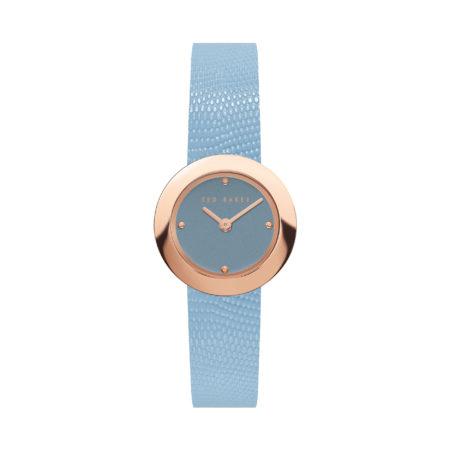 Ted baker Seerena Watch Light Blue Leather Strap rose Gold Stainless Steel BKPSEF902