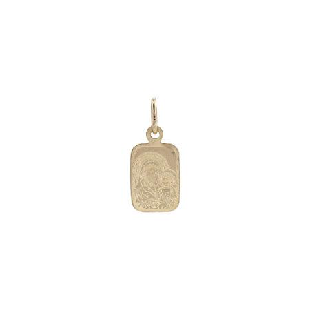 Χρυσό Φυλαχτό Ορθογώνιο Με Την Παναγία 14Κ GD110
