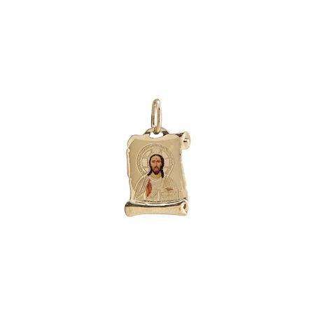 Χρυσό Φυλαχτό Πάπυρος Με Τον Χριστό 14Κ GD121