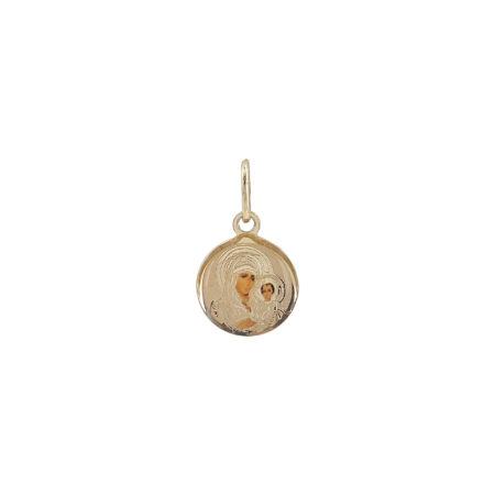 Χρυσό Μενταγιόν Κύκλος Με Την Παναγία Για Φυλαχτό 14Κ GD119